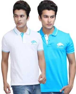 CATAMONT Solid Men's Polo White, Light Blue T-Shirt