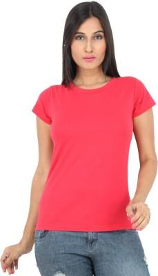 F FASHIONSTYLUS Solid Women's Round Neck Red T-Shirt