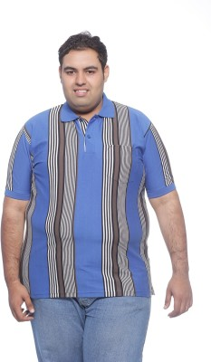 PlusS Striped Men's Polo Neck Blue T-Shirt