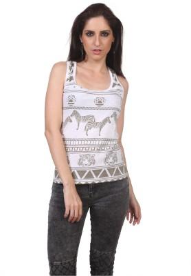 Viral Lifestyle Animal Print Women's Scoop Neck White T-Shirt