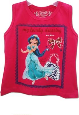 Kuddle Kid Printed Girl's Round Neck Pink T-Shirt