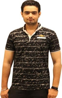 GOPAL EMPORIUM Printed Men's Mandarin Collar Black T-Shirt