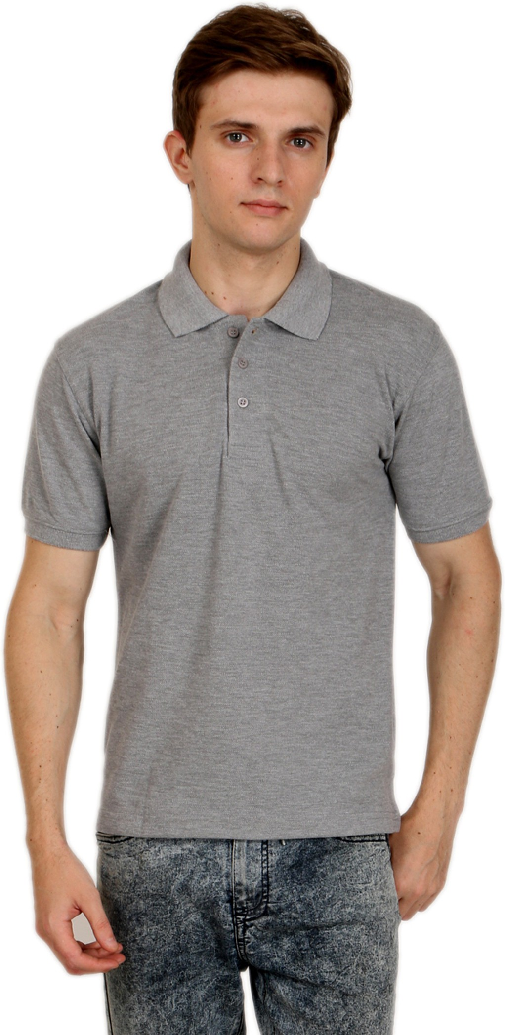Shopping Monster Solid Men's Polo Grey T-Shirt