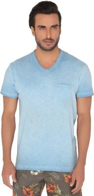 Jadeblue Solid Men's V-neck Blue T-Shirt
