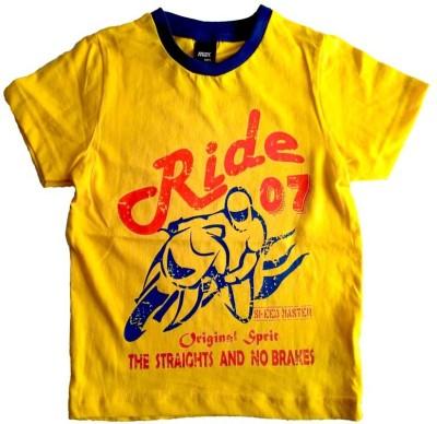 Cool Club Printed Boy's Round Neck Yellow T-Shirt