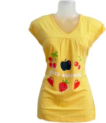 Revinfashions Printed Women's V-neck Yellow T-Shirt