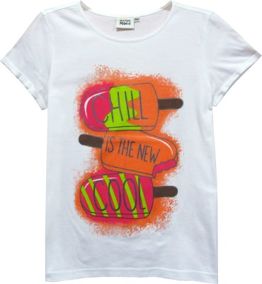 Abstract Mood Printed Girl's Round Neck White T-Shirt