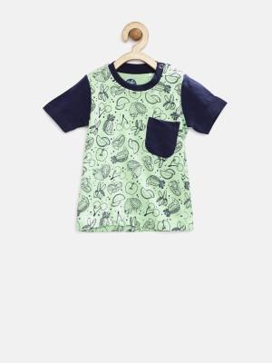 Yk Printed Boy's Round Neck Green T-Shirt