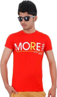 Faraday Printed Men,s Round Neck Red T-Shirt