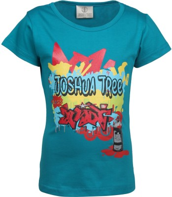 Joshua Tree Printed Girl's Round Neck Dark Blue T-Shirt