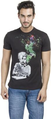 Einstine Printed Men's Round Neck Black T-Shirt