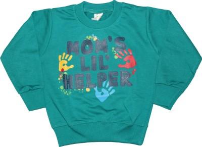 Cucumber Printed Boy's Round Neck Green T-Shirt