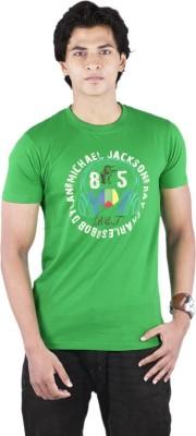 Bib & Tucker Printed Men's Round Neck Green T-Shirt