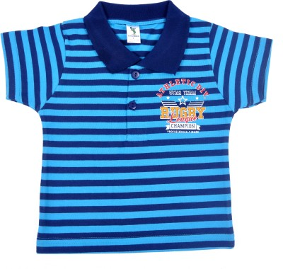 Cucumber Printed Baby Boy's Polo Neck Blue T-Shirt