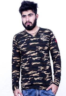 Khaiber Military Camouflage Men's V-neck Multicolor T-Shirt