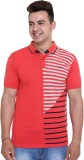Unex Woven Men's Flap Collar Neck Red T-...