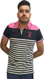 London Eye Striped Men's Polo Neck Pink,...