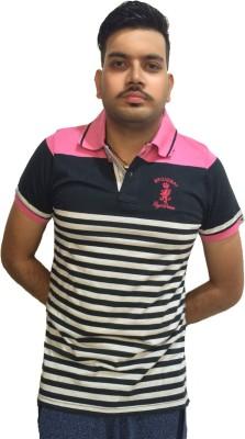 London Eye Striped Men,s Polo Neck Pink, Grey T-Shirt