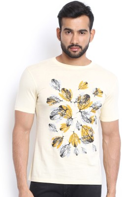 Soul Deep Skin Printed Men's Round Neck Yellow T-Shirt