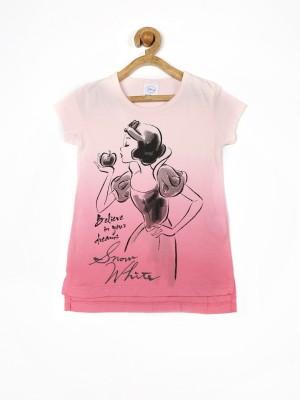 Fox Printed Girl's Round Neck Pink T-Shirt