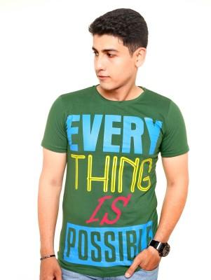 Zwizdot Printed Men,s Round Neck Green T-Shirt