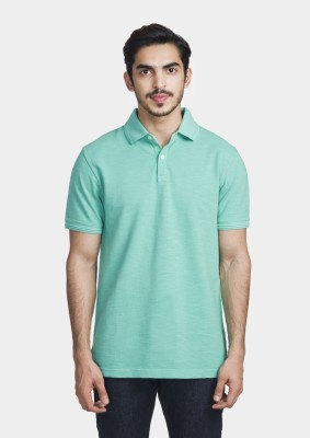 Bhane Solid Men's Polo Neck Light Green T-Shirt