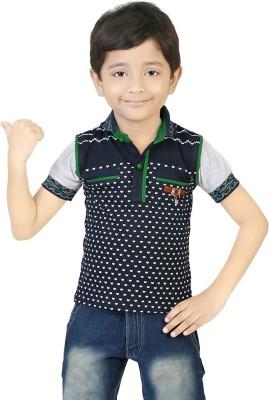 Koolkids Printed Boy's Flap Collar Neck Green T-Shirt