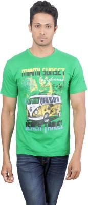 Oviyon Printed Men's Round Neck Green T-Shirt