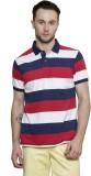Mudo Striped Men's Polo Neck Red T-Shirt