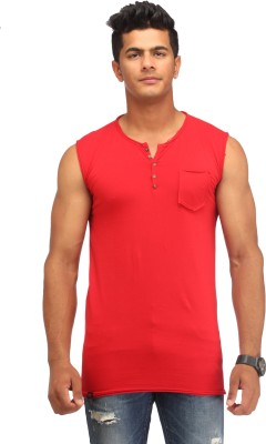 Male Basics Solid Men's Fashion Neck Red T-Shirt