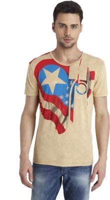 Jack & Jones Printed Men's Round Neck Beige T-Shirt