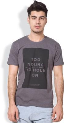 Locomotive Printed Men's Round Neck Grey T-Shirt