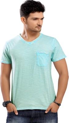 Stephen Armor Solid Men's V-neck Blue T-Shirt