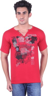 Lluminati Solid Men's Henley Red T-Shirt