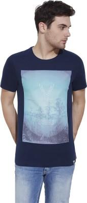 Slub By INMARK Graphic Print Men's Round Neck Dark Blue T-Shirt