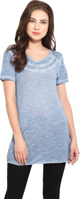 Free & Young Solid Women's Round Neck Blue T-Shirt