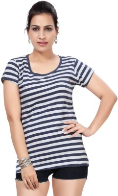Comix Striped Women's Round Neck Blue T-Shirt