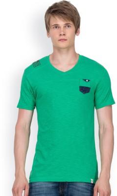 Blue Monkey Solid Men's V-neck Green T-Shirt