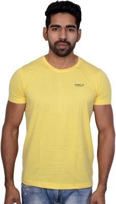 Being Dessi Solid Men's Round Neck Yellow T-Shirt