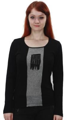 Kultprit Solid, Printed Women's Round Neck Black T-Shirt