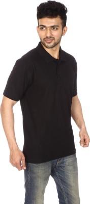 Lyril Solid Men's Flap Collar Neck Black T-Shirt