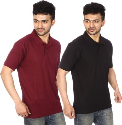 Lyril Solid Men's Polo Maroon, Black T-Shirt