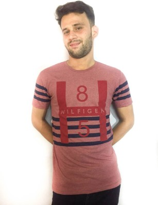 ARMOIRE Printed Men's Round Neck Red, Pink T-Shirt