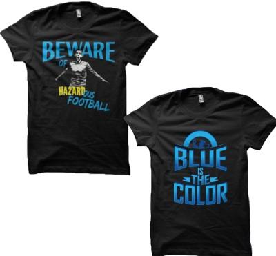 EETEE Printed Men's Round Neck Black, Dark Blue T-Shirt