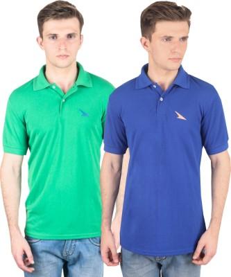 PRO Lapes Solid Men's Polo Neck Green, Blue T-Shirt