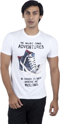 Life by Shoppers Stop Printed Men's Round Neck White T-Shirt