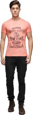 UJC Graphic Print Men's Round Neck Orange T-Shirt