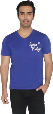 Again Vintage Solid Men's V-neck Blue T-Shirt