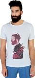 Mr Button Printed Men's Round Neck White...
