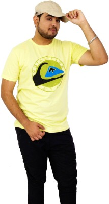 Parv Collections Printed Men's Round Neck Yellow T-Shirt